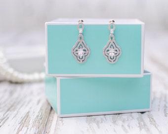 White Gold Bridal Earrings | Wedding Jewelry | Rhinestone Earrings | Chandelier Earrings | Bridesmaid Earrings | Bridesmaid Gifts | Earrings
