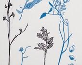 Lino Print Original Art Print - Linocut - Natives