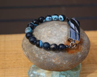 Blue Black Agate Faceted Gemstone 8G USB Bracelet
