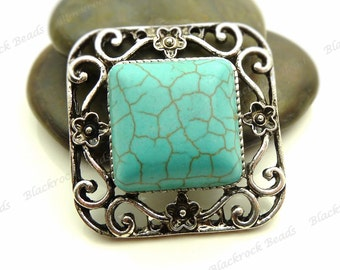 Turquoise Blue Magnesite Square Gemstone Connector Antique Silver Tone - Ornate Floral Pattern - 34mm - BK15