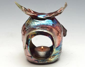 Tea Light Lantern House or Hermitage in Bright Blue, Gold and Copper Raku Ceramics