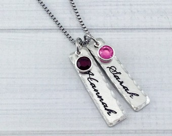 FREE SHIPPING * Hand stamped pewter bar name tag - with birthstone crystals - Sterling silver alternative
