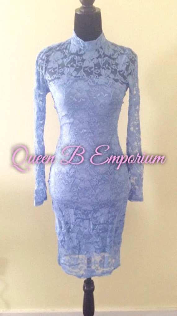Light Blue Lace Keyhole Back Bodycon Dress