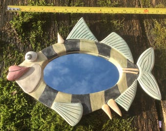 Handmade Ceramic Fish Mirror.