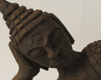 Buddha wood sculpture brown,Hand Carved,Buddha Figurine,Reclining Buddha,