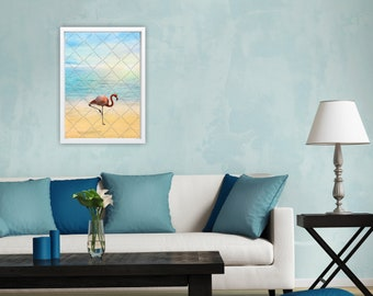 Poster A3-Flamingo on the beach-poster living room bedroom hallway etc.-Instant Download