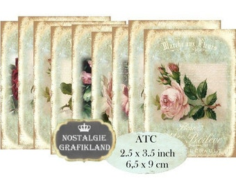 Marche aux Fleurs Roses ATC Instant Download digital collage sheet S117 Shabby Chic Flower Market