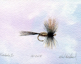 Fly Fishing Art - Original Art - Watercolor - Dry Fly - Made in Michigan - Michigan Artist - Fly Fishing - Black Frame