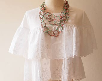 White Ruffle Top White Cotton Blouse Beach Style Clothing Comfortably Wear for Holiday Women Lace Top