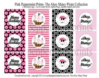 NEW INSTANT DOWNLOAD The Ahoy Matey Pirate Girl Pink and Black Printable 2 inch Party Circles Cupcake Toppers