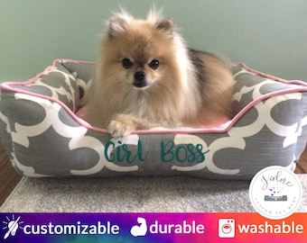 Baby Pink and Gray Dog Bed | Girly, Timeless, Classy - Small, Medium, Large Bolster Dog Bed