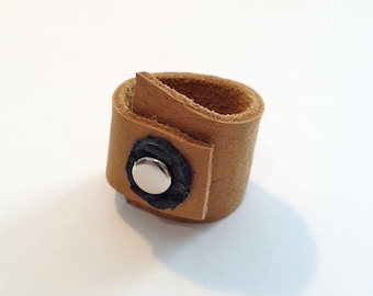 Soft Leather Ring - Mustard and Black - Wrapped Around Ring - Cool Leather Jewelry