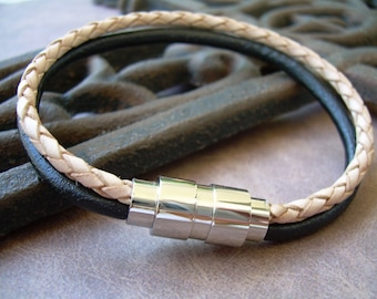 Black and Natural Braided Mens Leather Bracelet with Stainless Steel Magnetic Clasp, Mens Jewelry, Mens Bracelet, Mens Gift