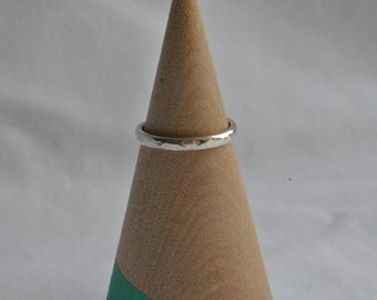 Thin Hammered Dimple Texture Sterling Silver Ring