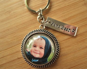 Photo keychain with stamped disc - your favorite photo or children's artwork, perfect Christmas gift for him grandpa dad Christmas gift