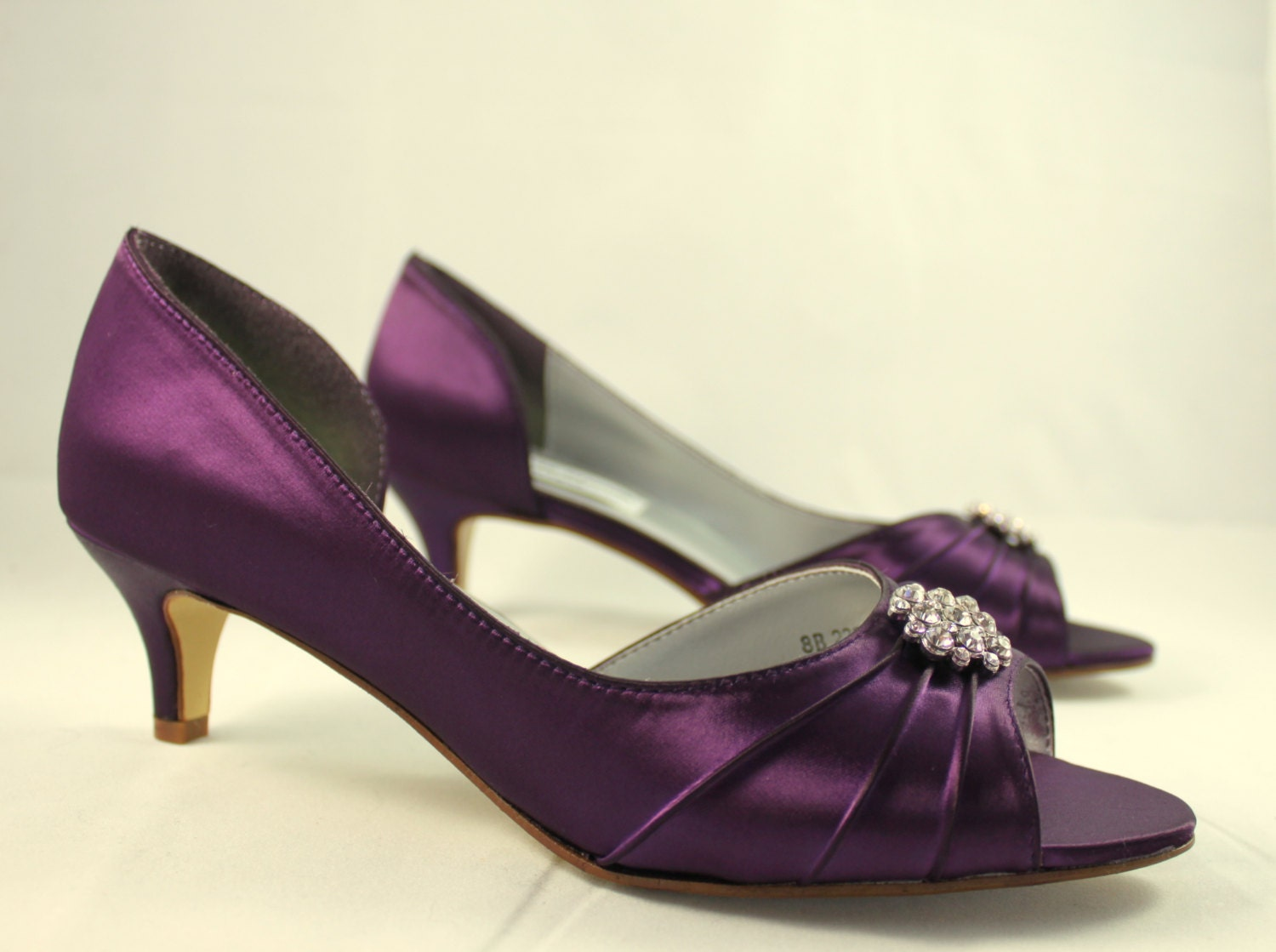 Superb Purple Wedding Shoes Low Heel SALE Size 8    1.75 Inch Heel   Aubergine  Colored Shoes Ready To Ship   Eggplant Shoe