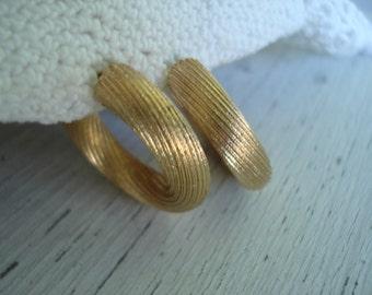 SALE Vintage Textured Etched Matte Gold Hoop Clip Earrings