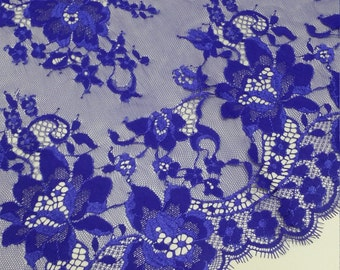 Royal Blue lace fabric French Lace, Chantilly Lace, Bridal lace Wedding Lace Evening dress lace Scalloped Floral lace Lingerie J333011