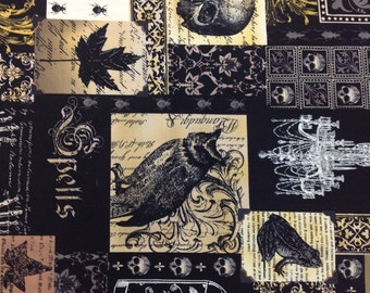 "Michael Miller Fabric Nevermore Collection Nevermore Collage 32"" piece LAST PIECE"