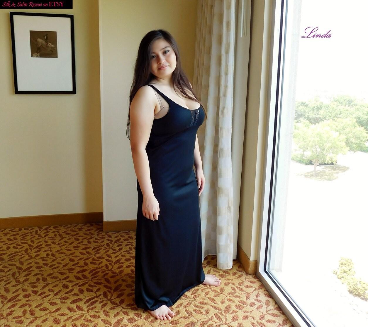 black nylon and lace long nightgown negligee nightdress