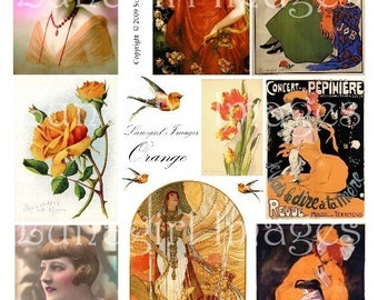 VINTAGE ORANGE digital collage sheet, flappers Victorian women, flowers birds, vintage ads, Paris cabaret posters French postcards, DOWNLOAD