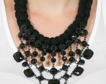 Total Black bib statement necklace, Statement Necklace,Anthropologie Necklace ,Chunky Statement Necklace ,Choker
