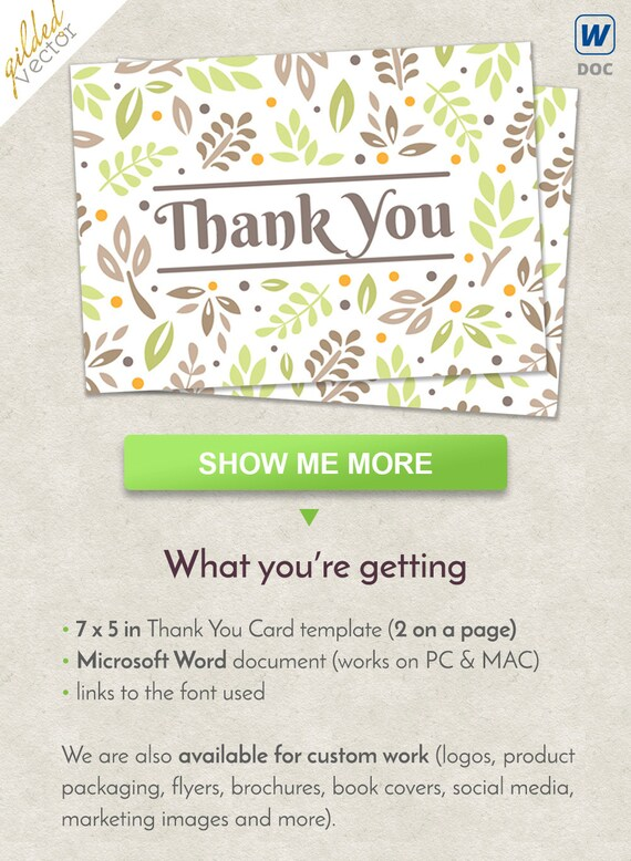 Diy Thank You Card Floral Card Thank You Template Nature