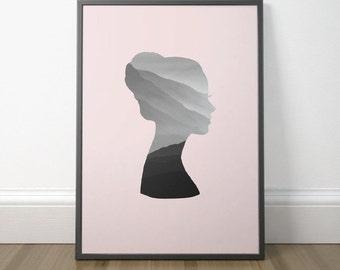 Printable Art For Women, Gift Print Art For Women, Printable Woman Silhouette, Pink Silhouette Art Print, Instant Download, Digital Print