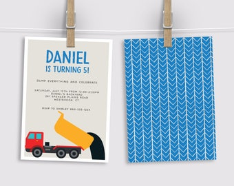 Dump Truck Birthday Invitation, Construction Party Invitation, Dump Truck Party Invitation, Printed Invitation, Printable Invitation