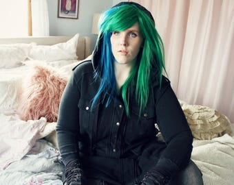 Green Blue wig | Long Scene Emo wig, Cosplay wig | Cyber Rave wig, Straight Scene wig | Sea Spire