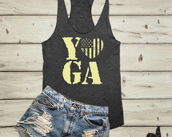 Yoga Tank, Workout Tanks, Yoga Shirt, Workout Tank, Yoga Clothes, Namaste Tank, Racerback Tank, Patriotic Tank, red white and blue,US Flag