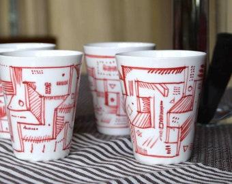 Set of 4 hand-decorated porcelain glasses