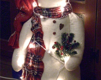 "Twinkles a 31"" Snowman Pattern Tangled up in Lights"