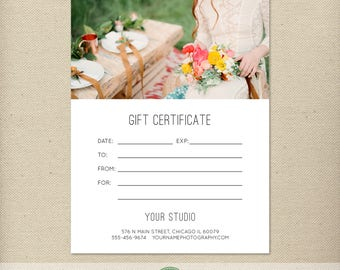5x7 Digital or Print Gift Certificate, Gift Card, Photography Gift, One-Side, Single-Side, TEMPLATE - GC10