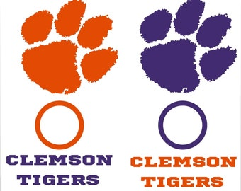 2-Clemson Tigers Cornhole Set of 6 Vinyl Decals Sticker University Bean Bag Toss