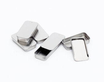 Metal Slide Top Tin Containers for lip balm, crafts, storage, survival (5 Pack)
