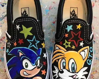 Boy's Custom Painted SONIC and TAILS Inspired VANS Shoes Any Size