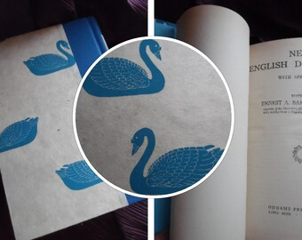 New English Dictionary (1932), rebound in blue Swan paper
