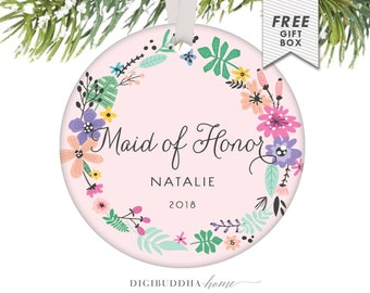 Will You Be My Maid of Honor Personalized Christmas Ornament Gift from Bride, Maid of Honor Personalized Gift Be My Maid of Honor Proposal