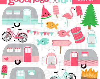 Buy 2, Get 1 FREE - Happy Camping Clipart- Digital RV Camping Clipart - Instant Download