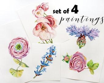 Flower watercolor set Blue cornflower & Rose painting Magnolia art ORIGINAL Plant art Pink ranunculus art watercolor