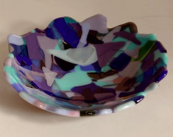 Fused glass bowl - blues art  glass