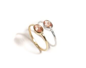 14k Sunstone Ring | 14k Yellow Gold or 14k Rose Gold |  Sunstone Ring