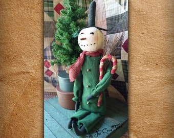 Mr. Candycane - Snowman doll - Grungy Snowman - Frosty - Primitive - prim decor - Christmas FREE SHIPPING As The Crow Flies By Patti