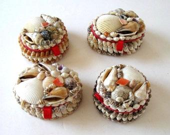 Set of 4 vintage sea shell boxes, jewelry storage, trinket box, Beach Cottage decor, nautical jewelry boxes, gift idea
