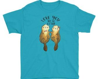 Otter Shirt, Love You Like No Otter, Otter T-shirt, Otter Tee, Otters Holding Hands, Cute Kid's Shirt, Youth Short Sleeve T-Shirt