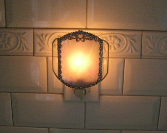 Stained Glass Nightlight|White Iridescent|Bow Decoration|Home & Living|Lighting|Night Lights|Handcrafted|Made in USA