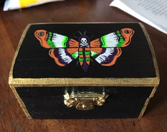 Handpainted Box - Small Death's Head Moth Hand Painted Wood Trinket Box