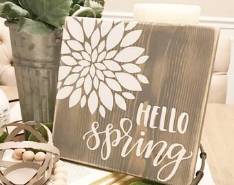 Hello Spring Sign; Farmhouse Spring Sign; Neutral Spring Decor; Farmhouse Spring Decor; Spring Decor; Spring Art;