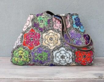 Crochet Floral Bag, Kaleidoscope Hobo Bag Crocheted Flowers, Colorful Boho Purse